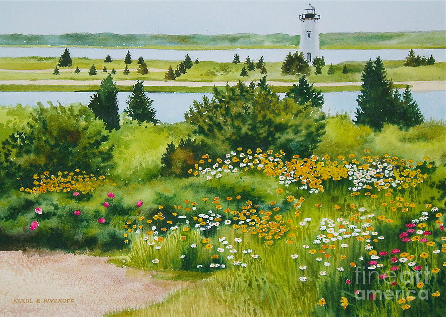 Lighthouse Painting - Edgartown Light by Karol Wyckoff