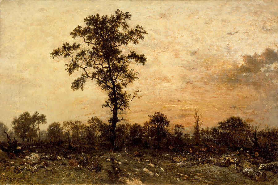 Edge Of The Forest. Sun Setting Painting by Theodore Rousseau Theodore Rousseau