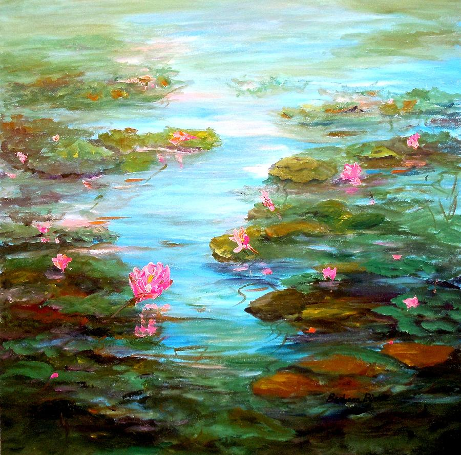 Water Lilies Painting - Edge Of The Lily Pond by Barbara Pirkle