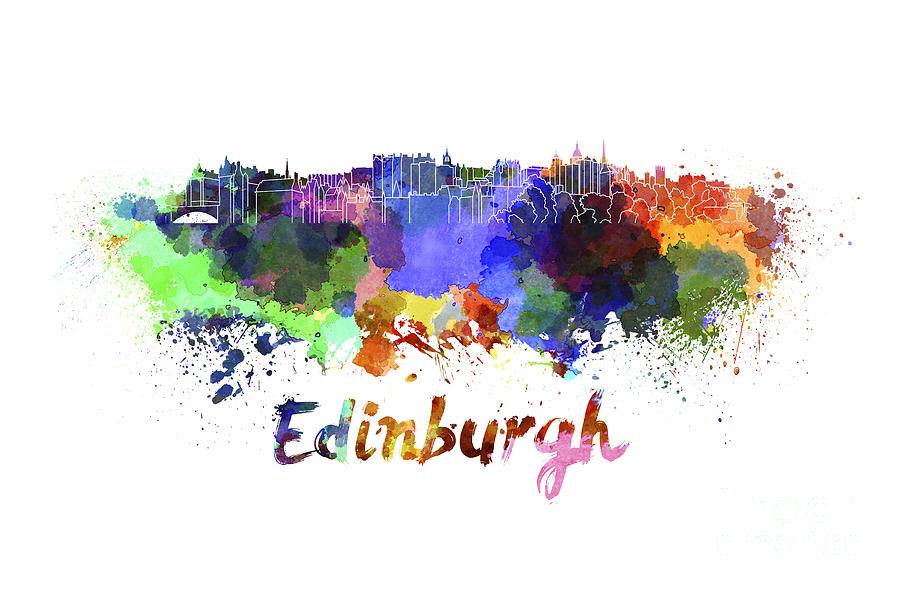 Edinburgh Skyline In Watercolor Painting