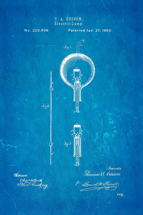 Electricity Photograph - Edison Electric Lamp Patent Art 1880 Blueprint by Ian Monk