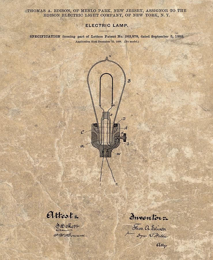 Light Mixed Media - Edison Electric Lamp Patent Marble by Dan Sproul