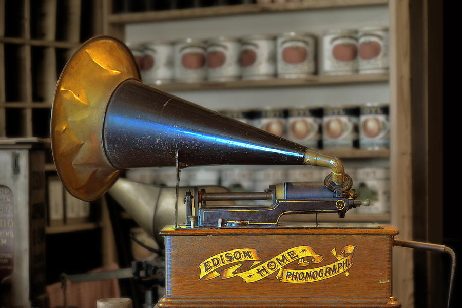 Antique Photograph - Edison Home Phonograph With Morning Glory Horn by Christine Till