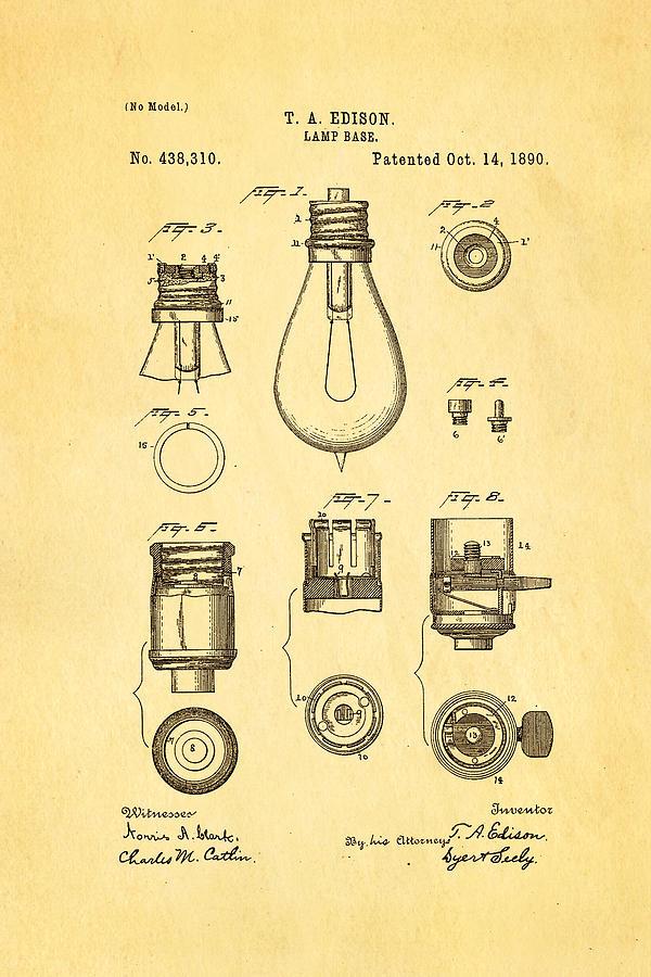 Electricity Photograph - Edison Lamp Base Patent Art 1890 by Ian Monk