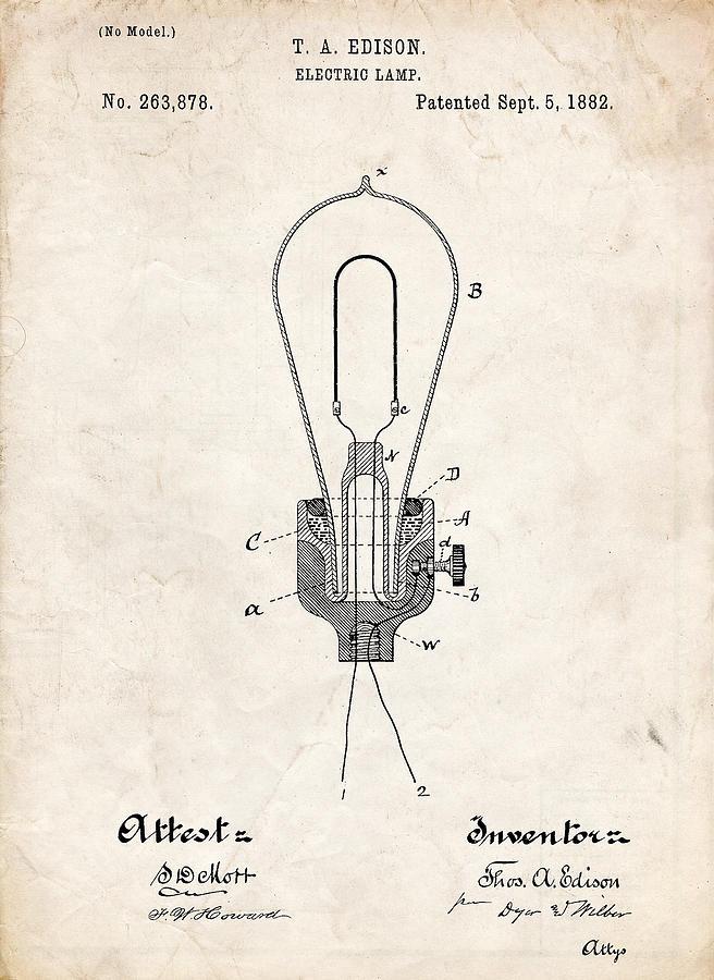 Edison Light Bulb Patent Art Drawing by Stephen Chambers