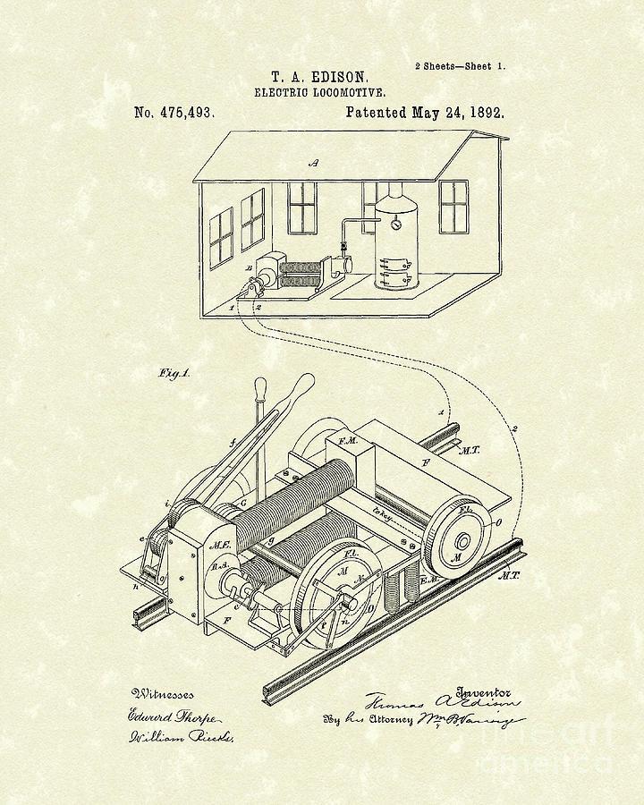 Edison Drawing - Edison Locomotive 1892 Patent Art by Prior Art Design