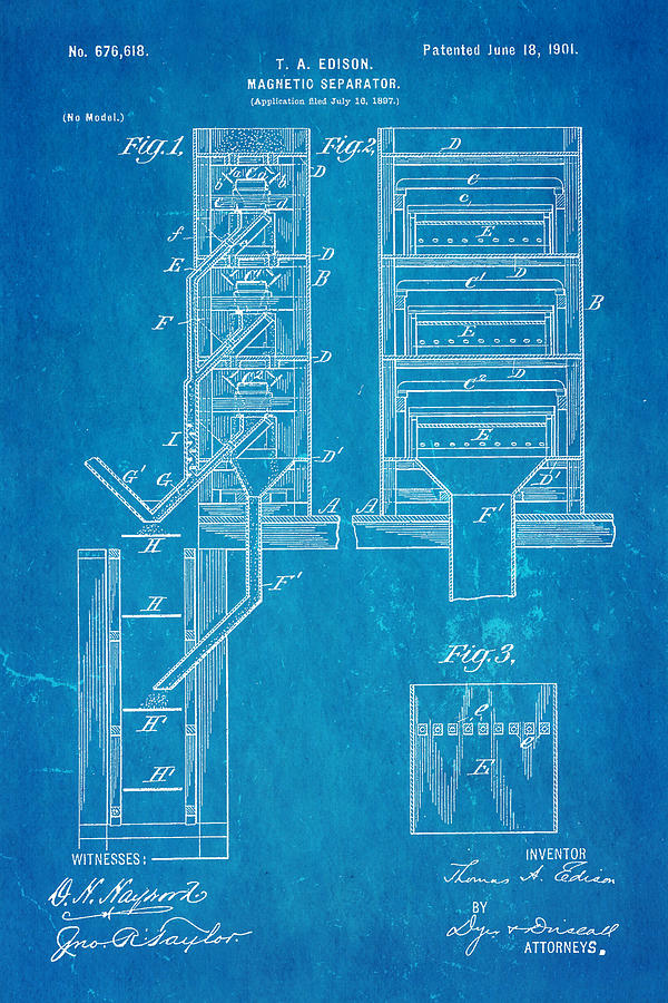 Engineer Photograph - Edison Magnetic Separator Patent Art 1901 - Blueprint by Ian Monk