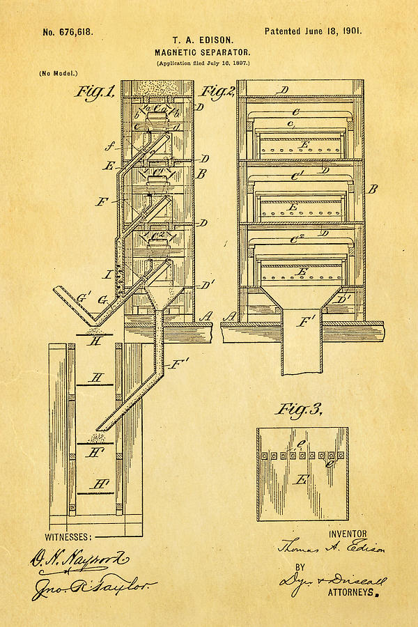 Engineer Photograph - Edison Magnetic Separator Patent Art 1901 by Ian Monk