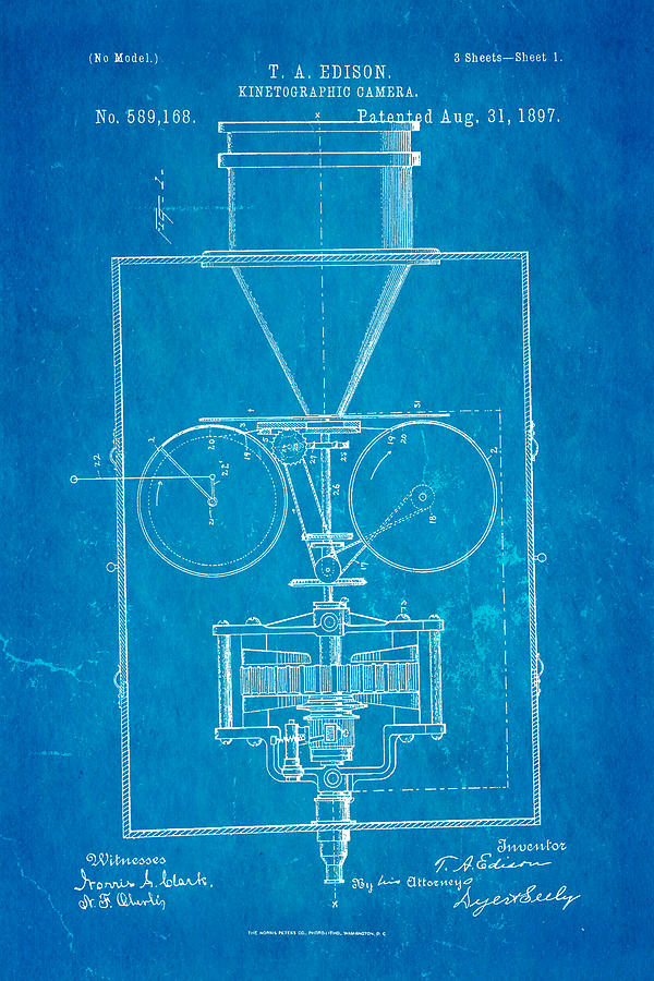 Edison motion picture camera patent art 1897 blueprint photograph by electricity photograph edison motion picture camera patent art 1897 blueprint by ian monk malvernweather Images