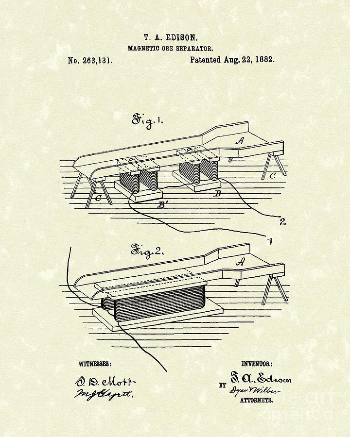 Edison Drawing - Edison Ore Separator 1882 Patent Art by Prior Art Design