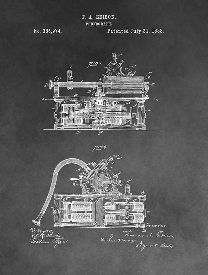 Thomas Edison's Phonograph Drawing - Edison Phonograph Patent by Dan Sproul