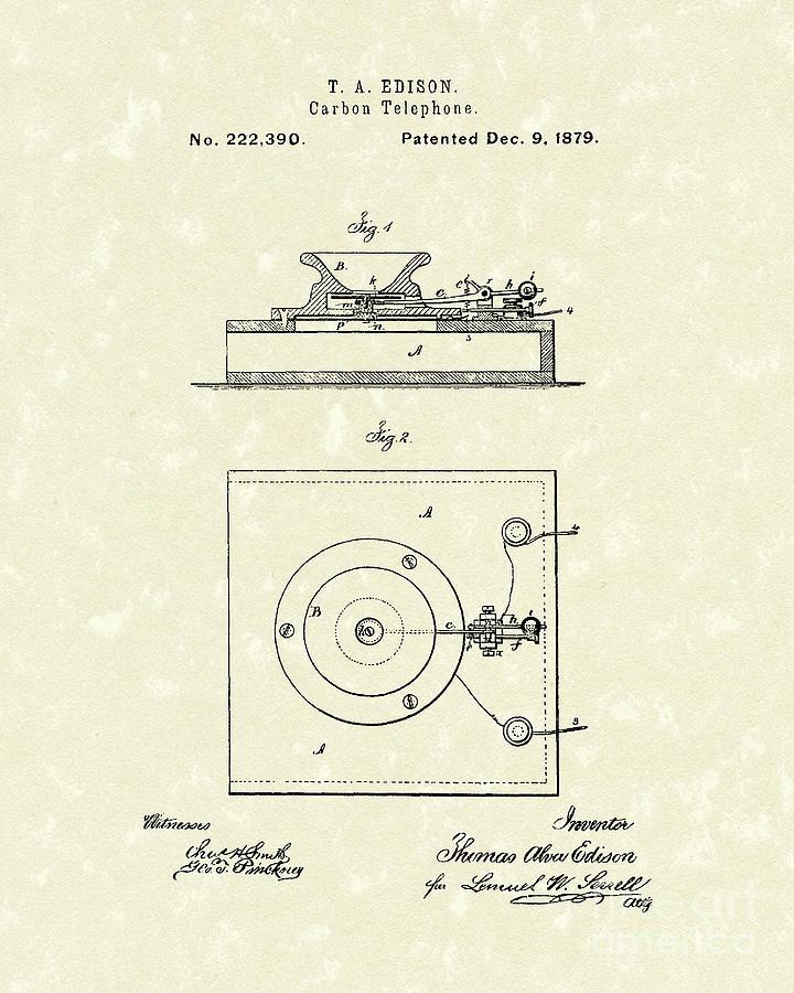 Edison Drawing - Edison Telephone 1879 Patent Art by Prior Art Design