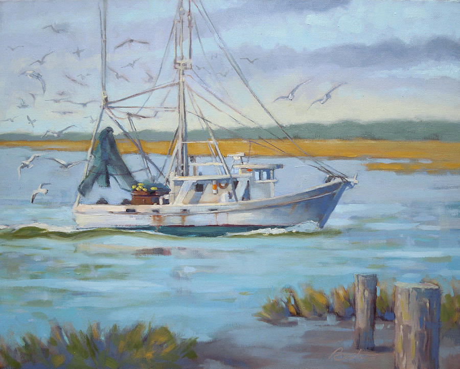 Boat Painting - Edisto Shrimp Boat by Todd Baxter