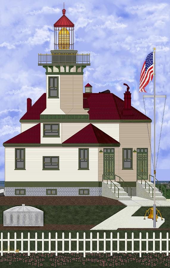 Lighthouse Painting - Ediz Hook Historical View Redux 2013 by Anne Norskog