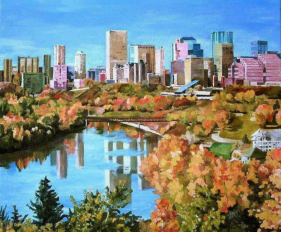 Edmonton Painting - Edmonton In Fall by Nel Kwiatkowska