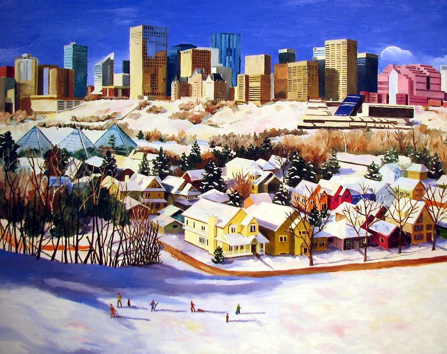 Urbanscape Painting - Edmonton In Winter by Nel Kwiatkowska