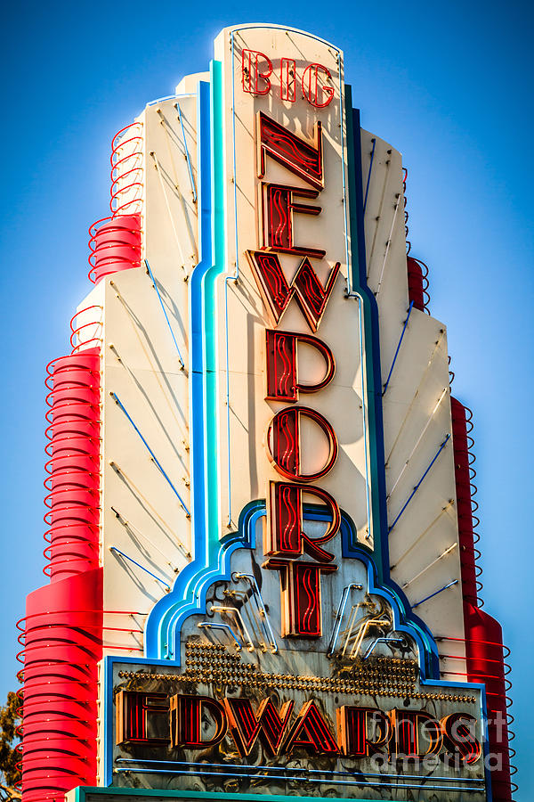 America Photograph - Edwards Big Newport Theatre Sign In Newport Beach by Paul Velgos