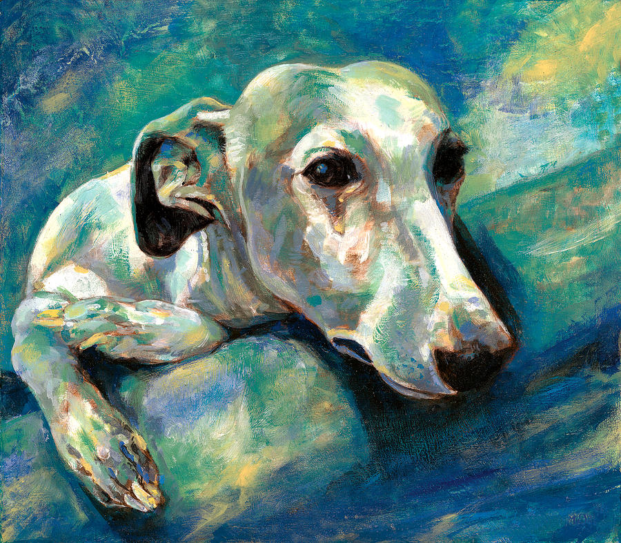 Whippet Painting Painting - Effects Of Gravity 1 by Derrick Higgins