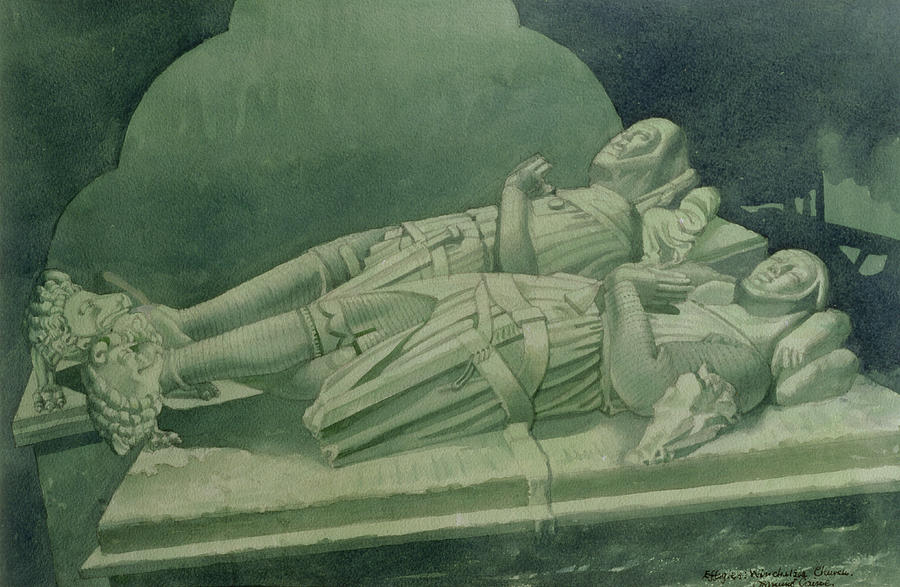 Tomb Drawing - Effigies, Winchelsea Church by Osmund Caine