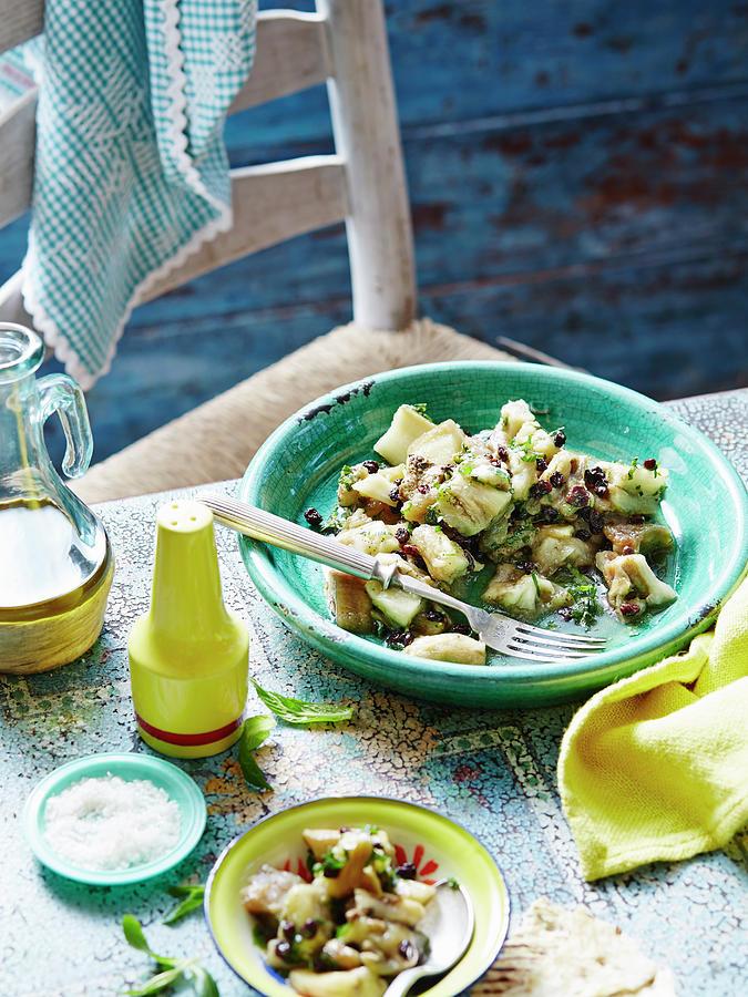 Eggplant, Mint And Sultana Salad Photograph by Brett Stevens