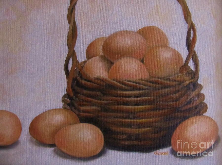 Eggs Painting - Eggs In A Basket by Karen Olson
