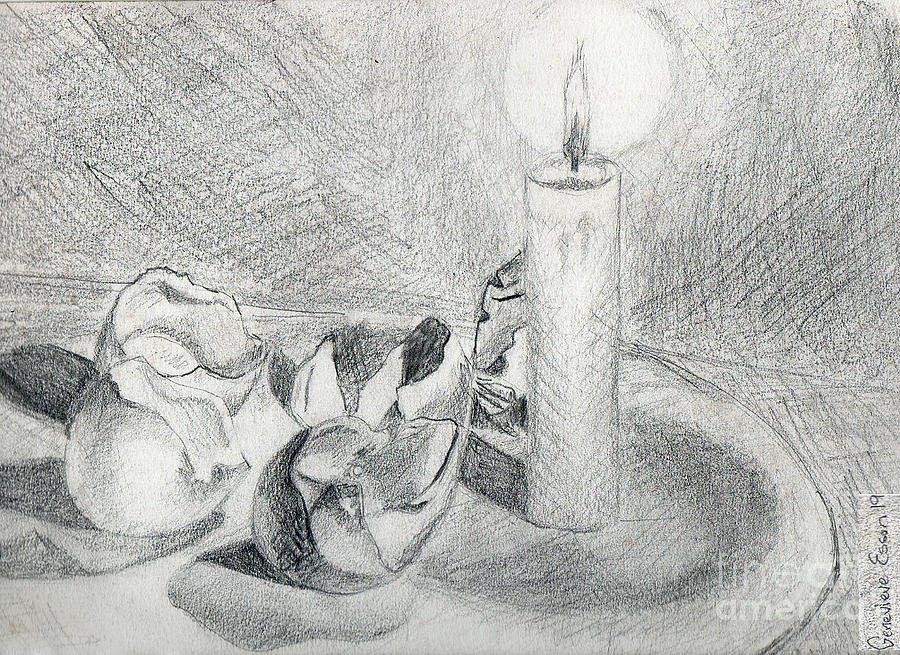Eggshells In Candlelight Drawing