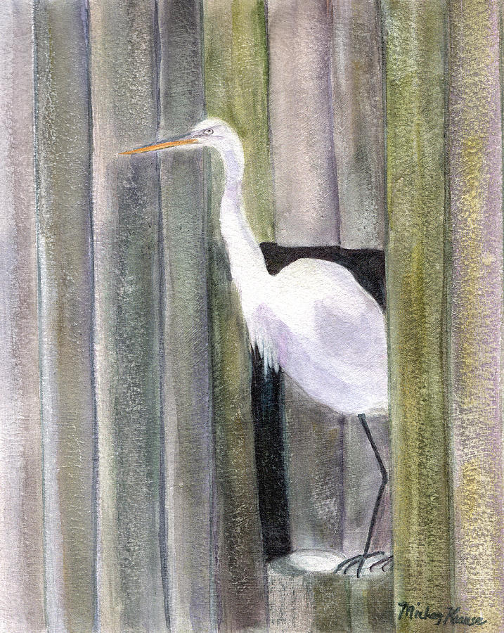 Egret Painting - Egret At Johns Pass by Mickey Krause