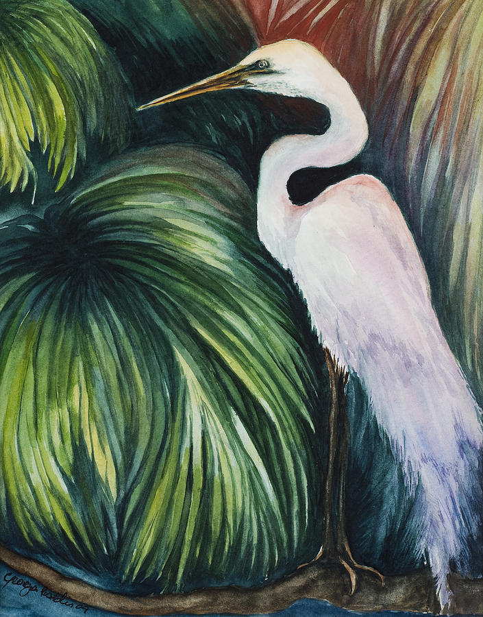Egret Painting - Egret In Palms by Georgia Pistolis
