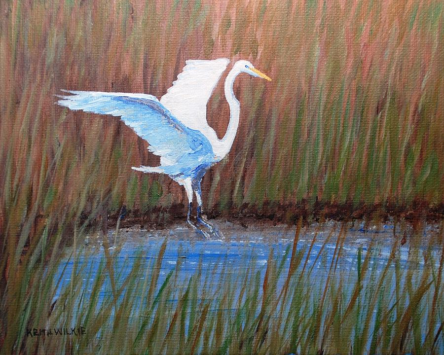 Egret Painting - Egret Landing by Keith Wilkie