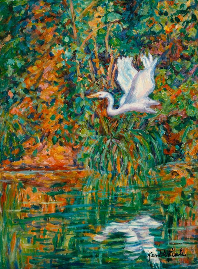 Egret Painting - Egret Reflections by Kendall Kessler