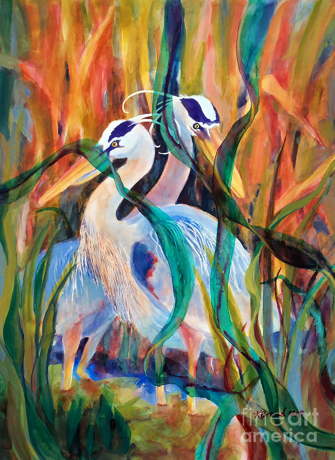 Paintings Painting - Egrets In Red 2            by Kathy Braud