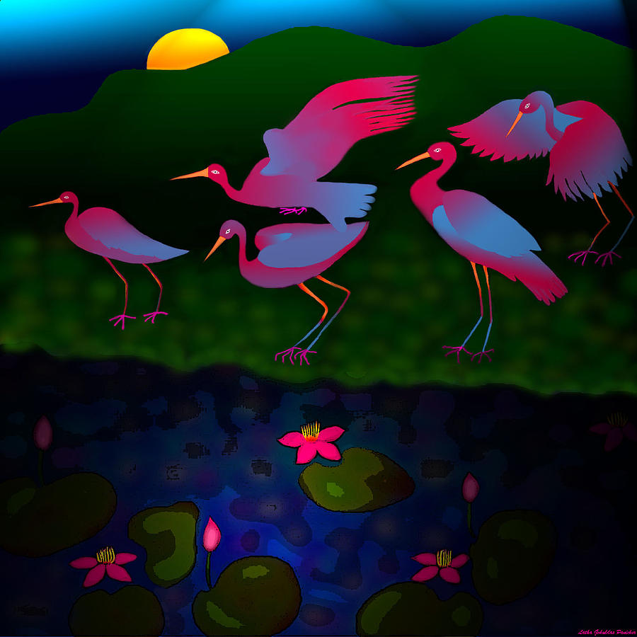 Egrets Digital Art - Egrets by Latha Gokuldas Panicker