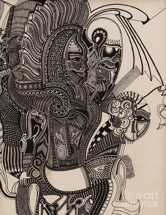 Pen Drawing - Egypt Walking by Michael Kulick