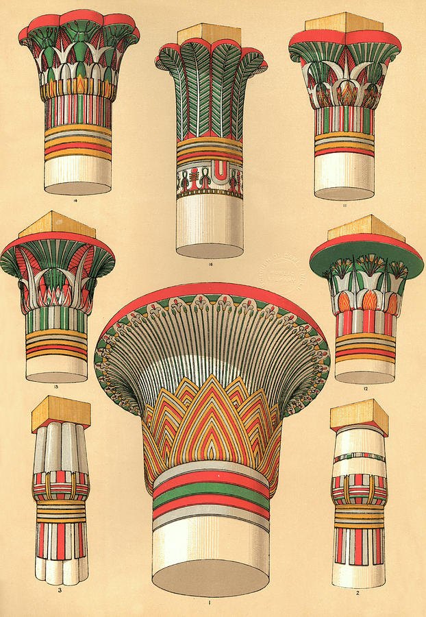 Egyptian Designs For Palm Columns Drawing By Mary Evans