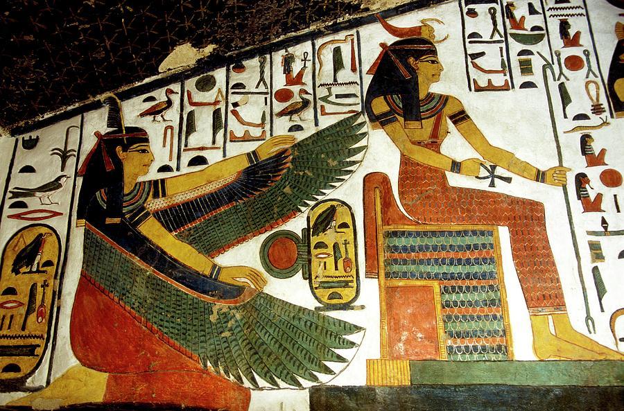 Serket Photograph - Egyptian Goddesses Maat And Serket by Patrick Landmann/science Photo Library