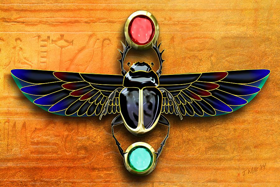 Egyptian Scarab Beetle Digital Art By John Wills