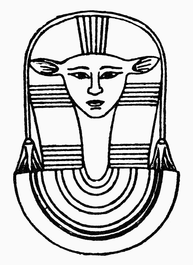 African Drawing - Egyptian Symbol Hathor by Granger