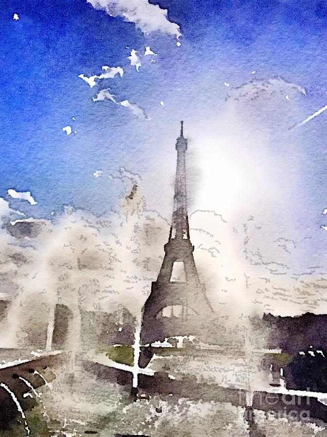 Eiffel during summer Painting by HELGE Art Gallery