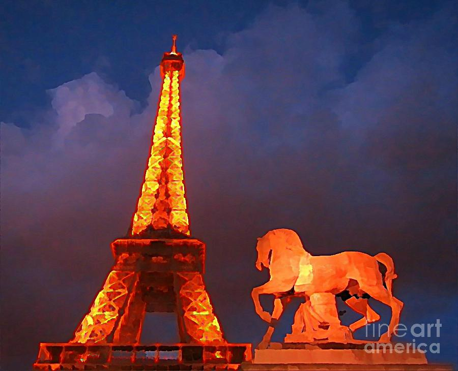 Statues Painting - Eiffel Tower And Horse by John Malone