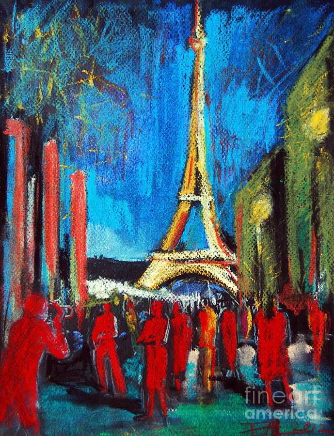 Mona Edulescu Painting - Eiffel Tower And The Red Visitors by Mona Edulesco