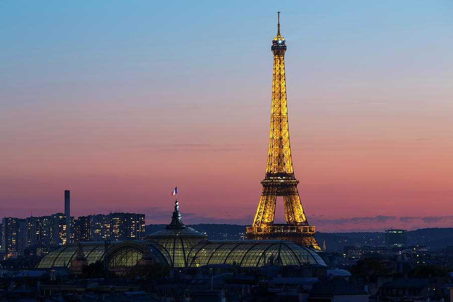 Eiffel Tower At Dusk, Paris, France Photograph by Peter Adams