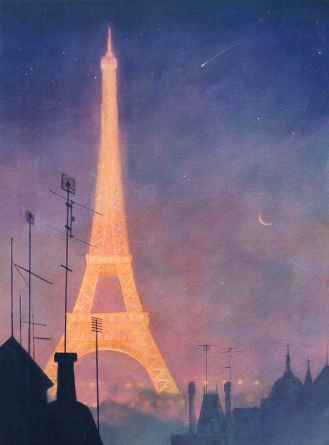 Paris Painting - Eiffel Tower by Blue Sky