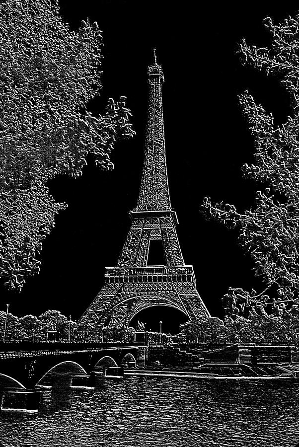 Eiffel Tower Charcoal Negative Image Dark Photograph by L Brown