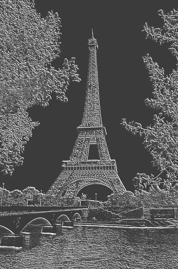 Eiffel Tower Charcoal Negative Image Photograph by L Brown