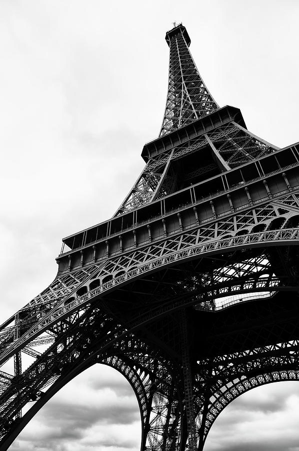 Eiffel Tower From Below Black And White Photograph by Peskymonkey
