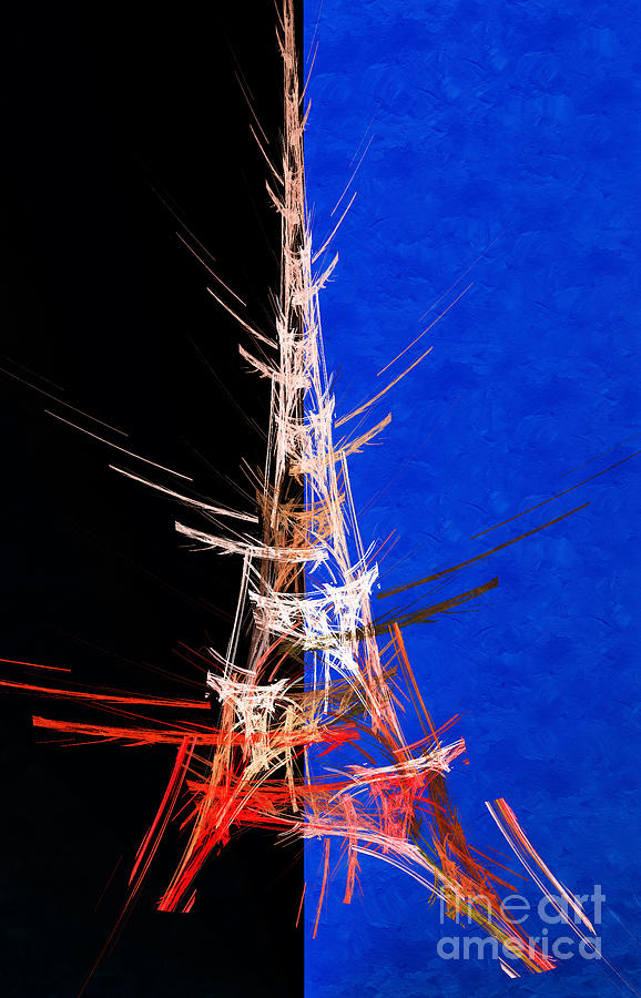 Abstract Digital Art - Eiffel Tower In Red On Blue  Abstract  by Andee Design