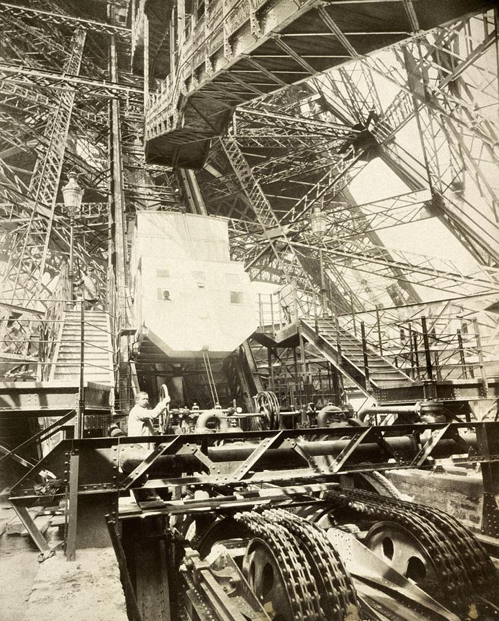 Human Photograph - Eiffel Tower Lift Machinery, 1889 by Science Photo Library