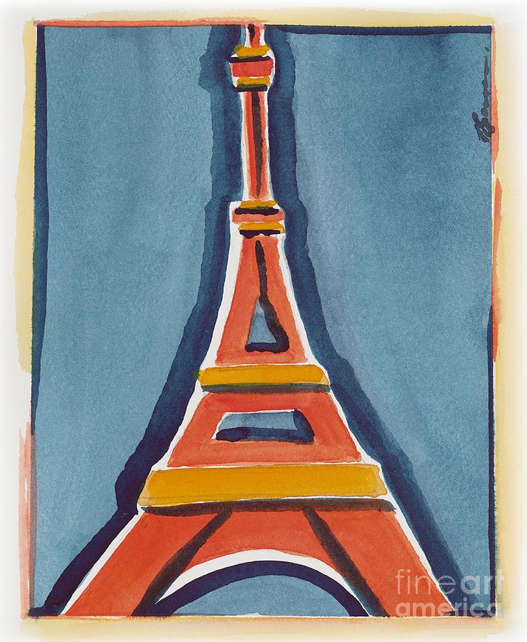 Effel Tower Painting - Eiffel Tower Orange Blue by Robyn Saunders