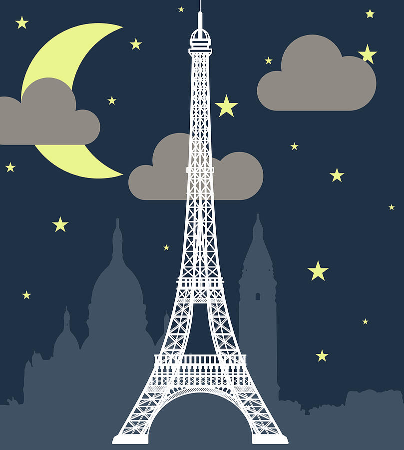 Eiffel Tower Over Night With Stars And Digital Art by Atypeek