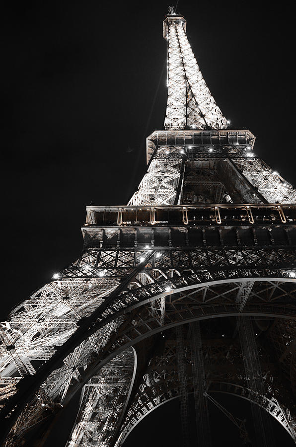 Black And White Photography Photograph - Eiffel Tower Paris France Night Lights by Patricia Awapara